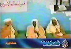 Ayman al-Zawahiri (left), Ahmed Refai Taha (center), and Osama bin Laden (right) on Al Jazeera.