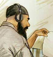 An artist&#8217;s drawing of Ibrahim Ahmed Mahmoud al-Qosi appearing before a military commission on August 27, 2004.