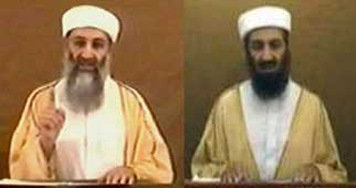 Osama bin Laden in 2004 (left) and 2007 (right).