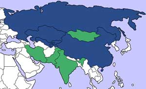A map of the Shanghai Cooperation Organization countries. Blue countries are members, green countries are observers.