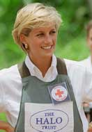 Princess Diana at a mine field in Angola in 1997.