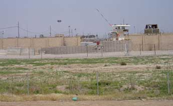 The front gate to the Abu Ghraib prison.