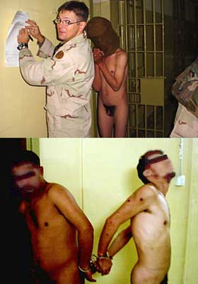 Top: Sgt. Evans fills out paperwork. A naked detainee and Adel Nakhla's shoulder can also been seen. Bottom: Two naked detainees are cuffed together.
