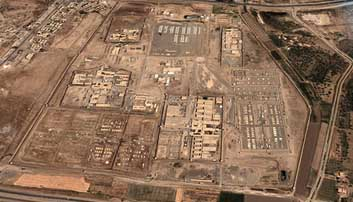 An overhead view of Abu Ghraib prison.