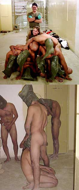 Top: the seven detainees are forced to form a human pyramid. Charles Graner and Sabrina Harman stand behind them smiling and giving thumbs up signs. Bottom: Some of the same detainees are forced to simulate oral sex on each other.