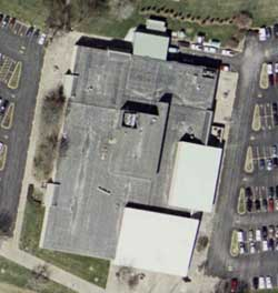 An aerial view of the AT&T Easylink Service building in Bridgeton, Missouri, where the NSA allegedly has secret facilities.