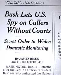 New York Times headline from article revealing NSA surveillance.