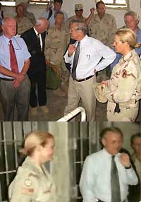 Rumsfeld visiting Abu Ghraib (his jacket is held over his back in both pictures). Karpinski is in both pictures as well.