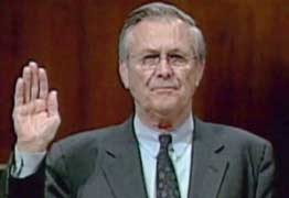 Rumsfeld under oath, testifying about Abu Ghraib.