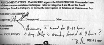 "Rumsfeld's handwritten note at the bottom of the memo he signs: ""However, I stand for 8-10 hours a day. Why is standing limited to 4 hours?"""