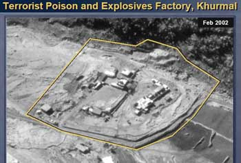 An aerial photo of the Khurmal training camp, actually in the nearby village of Sargat. This image was shown during Colin Powell's presentation to the UN on February 5, 2003.