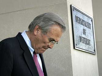 Rumsfeld leaving the Defense Department.