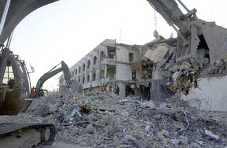 Destruction after the bombing of the UN building in Baghdad.