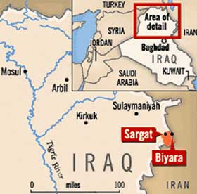The area controlled by Ansar al-Islam in 2002 is marked in orange. Two of the group's camps, Sargat and Biyara, are both near the town of Khurmal.