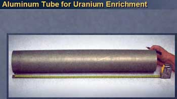 Photo of Iraqi aluminum tube, misidentified as a component for a nuclear reactor.