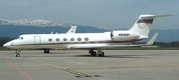 One of the executive jets used by the CIA to fly prisoners to Guantanamo. This one, a Gulfstream with tail number N44982 when used by the CIA, is pictured in Geneva, Switzerland in 2005 with a new tail number.