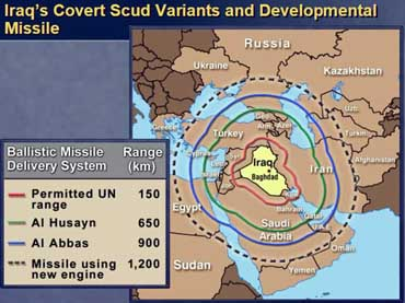 Map showing ranges of suspected Iraqi Scud missiles.