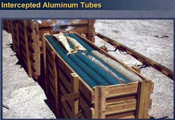 Photo of aluminum tubes intercepted by Western intelligence.