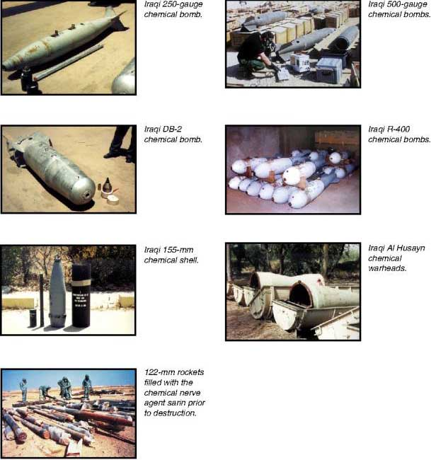 An array of Iraqi chemical weapons.
