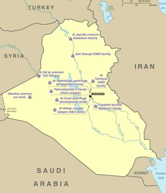 CIA map showing alleged Iraqi WMD sites.