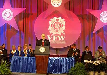 Cheney speaking before the Veterans of Foreign Wars.