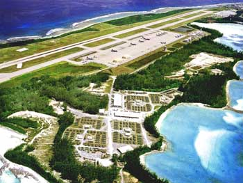 The alleged location of Camp Justice on the island of Diego Garcia.