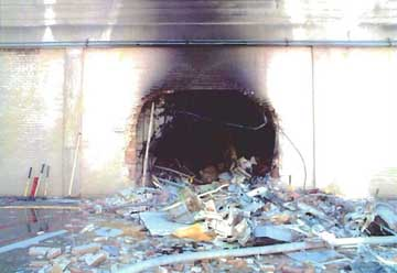 The &#8220;exit hole&#8221; in an inner wall of the Pentagon.