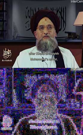 Video still of Ayman al-Zawahiri (top) and analysis by Krawetz (bottom).