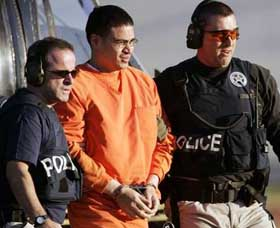 Jose Padilla being escorted by federal agents in January 2006.