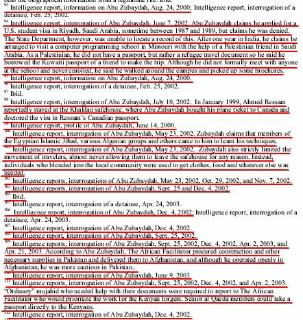 Other 9/11 Commission reports are heavily based on detainee interrogations. The red underlines are endnotes based on the interrogation of Abu Zubaida in the 9/11 Commission's Terrorist Travel Monograph.