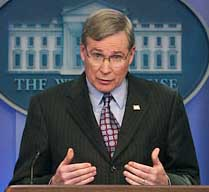 Stephen Hadley briefing reporters on the new NIE.