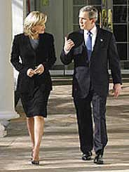 Diane Sawyer with President Bush.