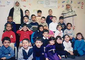Children at the Um Al-Qura Islamic School, where both Jaballah and Shehab served as principals.