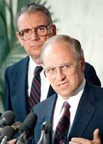 Hamilton and Cheney hold a press conference together about the Iran-Contra Affair investigation on June 19, 1987.