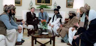 Ronald Reagan with Afghan mujaheddin leaders.