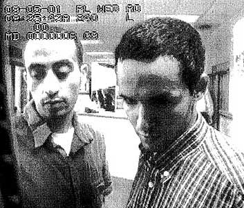 Hani Hanjour (left) and Majed Moqed (right) captured by surveillance video on September 5, 2001.