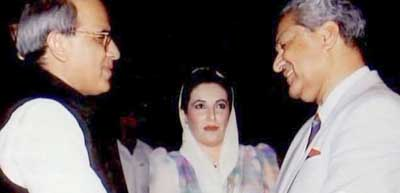A. Q. Khan (right) and Benazir Bhutto (center).