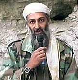 Bin Laden appears on Al Jareeza, in a taped statement broadcast shortly after US-led strikes on Afghanistan begin.