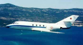Falcon 20 business jet.