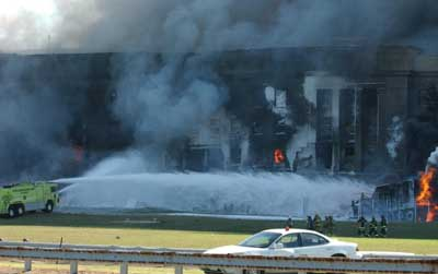 Initial firefighting efforts after the attack on the Pentagon.
