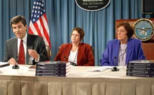 Randy Papadopoulos, Nancy Berlage, and Diane Putney, three of the authors of <i>Pentagon 9/11</i>.