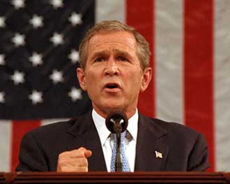 President Bush giving his joint session of Congress speech.