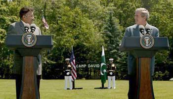 Bush and Musharraaf at the Camp David press conference.