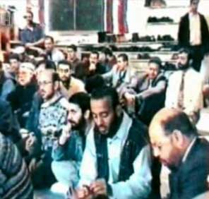 Ramzi bin al-Shibh (front center) at the Al Quds mosque in Hamburg.