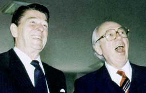 Ronald Reagan (left) and William Casey (right).