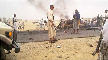 Security forces after the Sheba temple bombing.