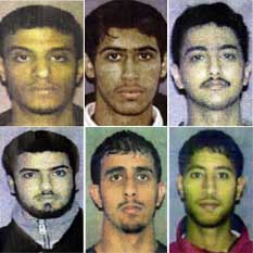 The Lackawanna Six. Top row, from left: Faysal Galab, Mukhtar al-Bakri, and Sahim Alwan. Bottom row, from left: Yahya Goba, Shafel Mosed, and Yaseinn Taher.
