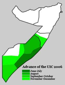 A map of the 2006 advance of the Islamic Courts Union in Somalia.