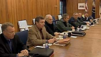 Some attendees of the Camp David meeting on September 15, 2001. From left to right: I. Lewis Libby, John Ashcroft, Dick Cheney, George Bush, Colin Powell, Donald Rumsfeld, Paul Wolfowitz.