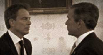 Bush and Blair (left) meeting in the White House around September 20, 2001.